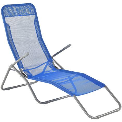 Sonnenliege 190cm Blau Gartenliege Strandliege Kippliege Liege