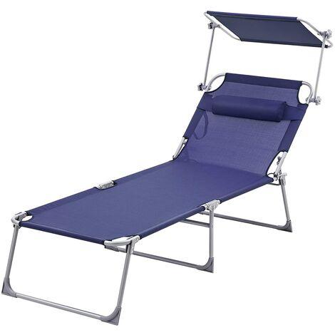 Sonnenliege, extra groß 210 X 72 X 38cm, Verstellbarer Liegestuhl, klappbar, aus pulverbeschichtetem Stahlrohr, rostbeständig, Kopfkissen und Sonnendach, bis 250kg belastbar