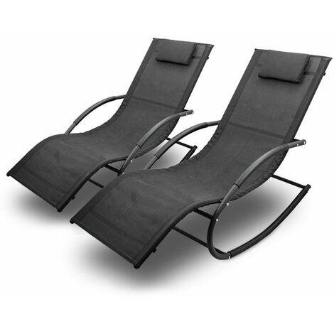 Sonnenliege Gartenliege Relaxliege Schaukelliege Liegestuhl Schaukelstuhl (2 Liegen)