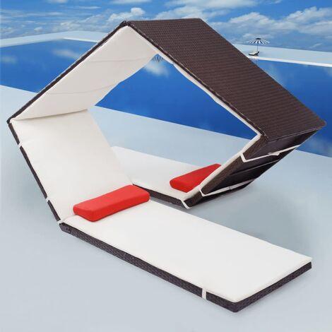 Sonnenliege im Diamant-Design Poly Rattan Braun