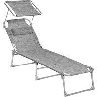 Sonnenliege, Liegestuhl, mit Verstellbarer Rückenlehne und Sonnendach, 193 x 63 x 32cm, Max. Belastbarkeit 250kg, Grau+Weiß/Rauchgrau