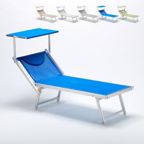 Sonnenliege Luxus Italienische Strandliege mit Dach Alu Italia