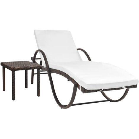 Sonnenliege mit Tisch Poly Rattan Braun -