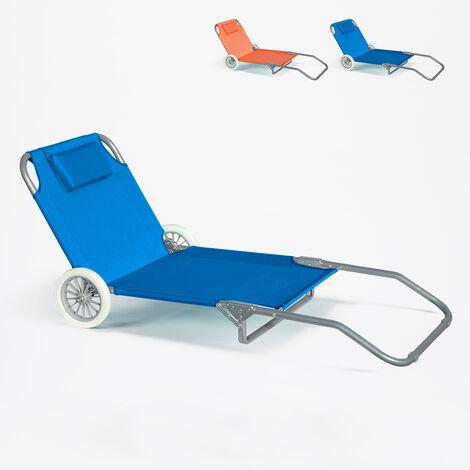 Sonnenliege Strandliege Stahl Tragbar Mit Rollen Banana Hellblau