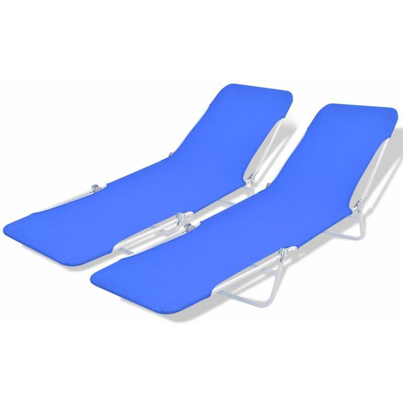 Campingbetten Klappbar.Sonnenliegen Klappbar 2 Stk Blau Stahl 56 X 182 X 24 5 Cm
