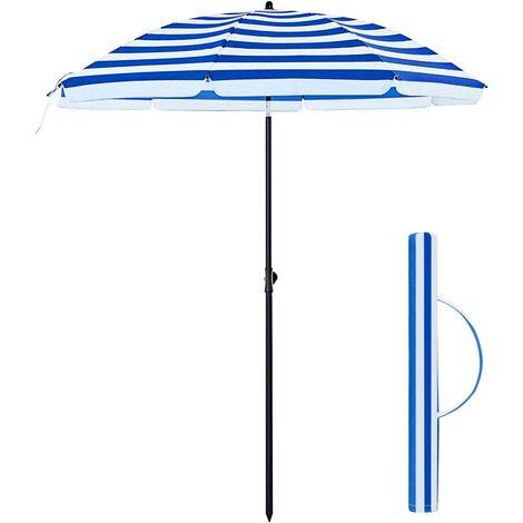 Sonnenschirm, Ø 160 cm, Marktschirm, UV Schutz UPF 50+, Sonnenschutz, achteckiger Gartenschirm aus Polyester, Schirmrippen aus Glasfaser, mit Tragetasche, Blau-weiß gestreift GPU60WU