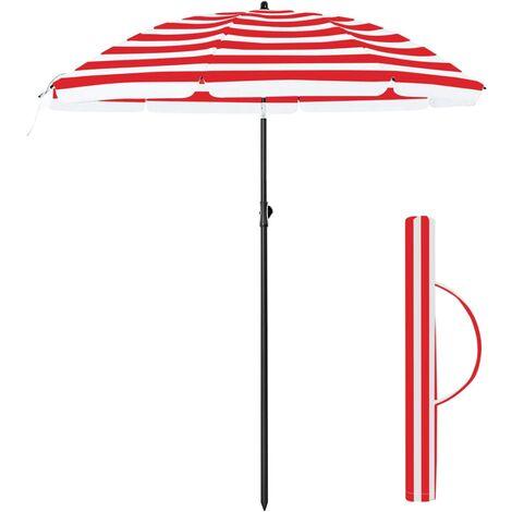 Sonnenschirm, 200 cm, Sonnenschutz, achteckiger Strandschirm aus Polyester, Schirmrippen aus Glasfaser, knickbar, mit Tragetasche, Garten, Balkon, Schwimmbad, Blau-weiß gestreift/Rot-weiß gestreift