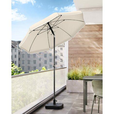 Sonnenschirm, 200cm, Marktschirm, Sonnenschutz, achteckiger Strandschirm, knickbar, mit Lüftungsöffnungen, Tragetasche, ohne Ständer, für Strand, Garten, Balkon und Schwimmbad, Beige, GPU65WTV1