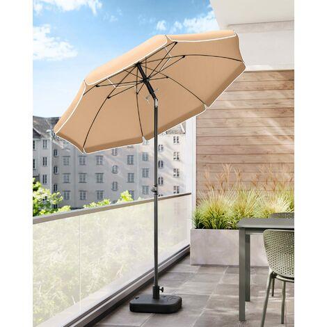 Sonnenschirm, 200cm, Marktschirm, Sonnenschutz, achteckiger Strandschirm, knickbar, mit Lüftungsöffnungen, Tragetasche, ohne Ständer, für Strand, Garten, Balkon und Schwimmbad, Taupe, GPU65BRV1