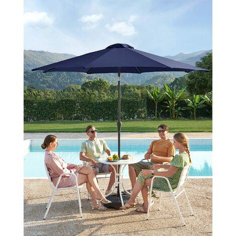 Sonnenschirm, 3 m Durchmesser, Sonnenschutz, achteckiger Gartenschirm aus Polyester, knickbar, mit Kurbel, ohne Ständer, Outdoor, für Garten, Balkon und Terrasse, Blau GPU30BU