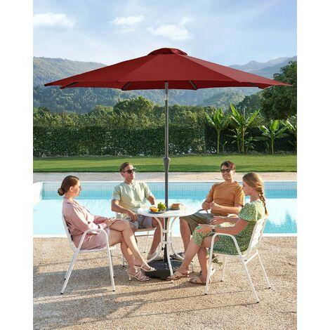 Sonnenschirm, 3 m Durchmesser, Sonnenschutz, achteckiger Gartenschirm aus Polyester, knickbar, mit Kurbel, ohne Ständer, Outdoor, für Garten, Balkon und Terrasse, Rot GPU30RD