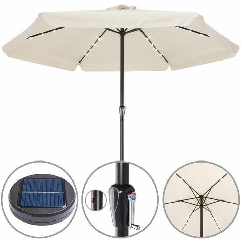 Sonnenschirm Ø330cm Alu LED Beleuchtung Solar Gartenschirm Marktschirm Kurbel
