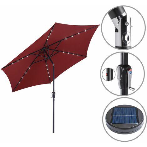 Sonnenschirm ALU 24 LED Kurbel Solar Ø270cm Marktschirm Gartenschirm Schirm