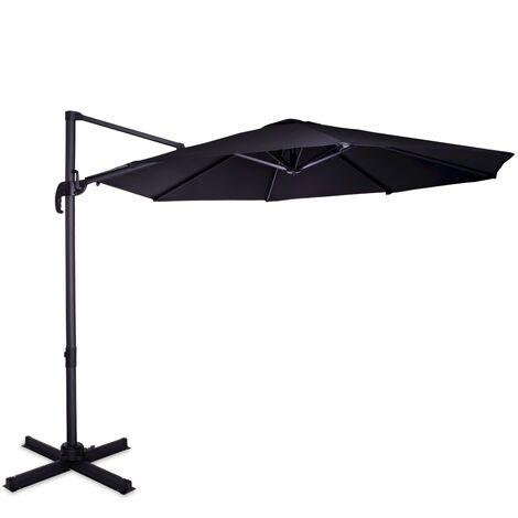 Sonnenschirm Bardolino Ø300cm - Schwebender Sonnenschirm - Dreh- und schwenkbar - UPF 50+ Stoff - Anthrazit/Schwarz