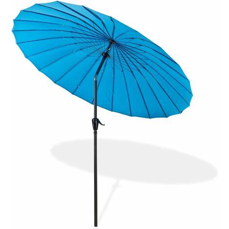 Sonnenschirm Gartenschirm Sonnenschutz Schirm Kurbelschirm Tokio rund 2,5 m blau