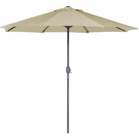 Sonnenschirm LED-Beleuchtung Ø266 cm grau-beige RAPALLO