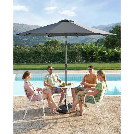 Sonnenschirm, Marktschirm, achteckig, knickbarer Gartenschirm mit Kurbel, Ø 3m, ohne Ständer, Polyestertuch, für Außenbereich, Terrasse, Garten, Balkon, Beige/Taupe/Grau