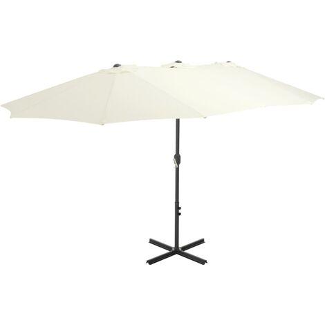Sonnenschirm mit Aluminium-Mast 460 x 270 cm Sand