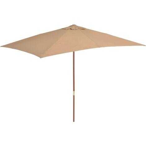 Sonnenschirm mit Holz-Mast 200×300 cm Taupe