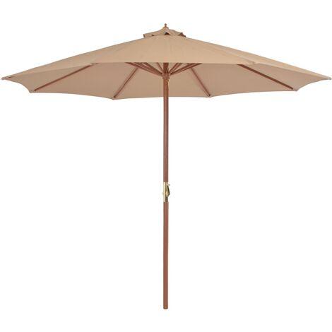 Sonnenschirm mit Holz-Mast 300 cm Taupe