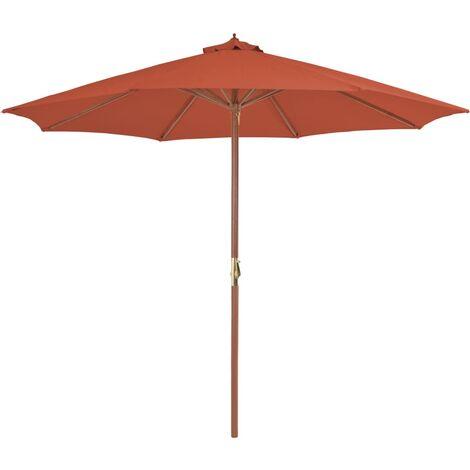 Sonnenschirm mit Holz-Mast 300 cm Terrakotta
