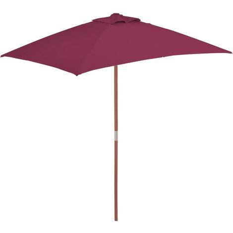 Sonnenschirm mit Holzmast 150 x 200 cm Bordeauxrot