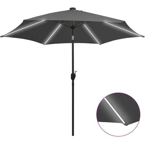 Sonnenschirm mit LED-Leuchten & Aluminium-Mast 300 cm Anthrazit