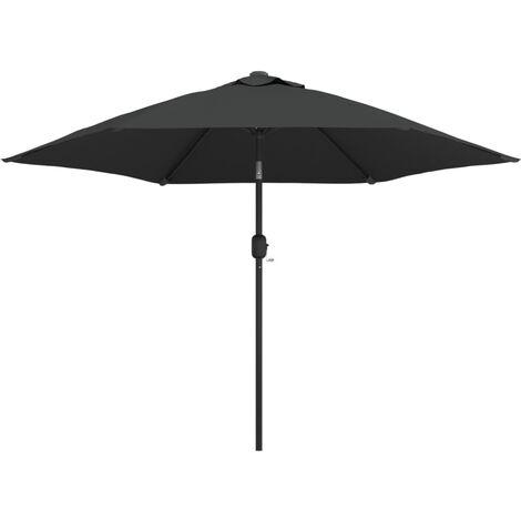 Sonnenschirm mit LED-Leuchten und Stahlmast 300 cm Anthrazit