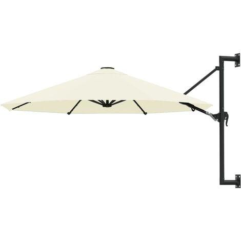 Sonnenschirm Wandmontage mit Metallmast 300 cm Sandfarben