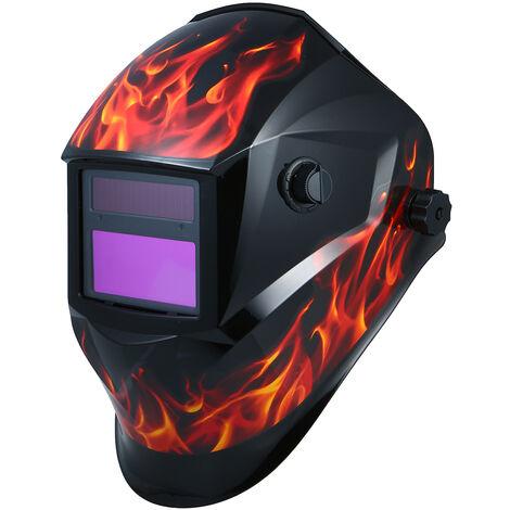 Sonnenschutzmaske automatisch Verdunklung Schwei?en Schwei?ern helmet Schwei?kappe mit einem grauen Halterung SZ-ESTS1 (Flamme)