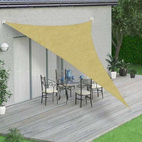 Sonnenschutzsegel Creme/Weiß - Dreieck - 3x3x3 m Windschutz Schattensegel