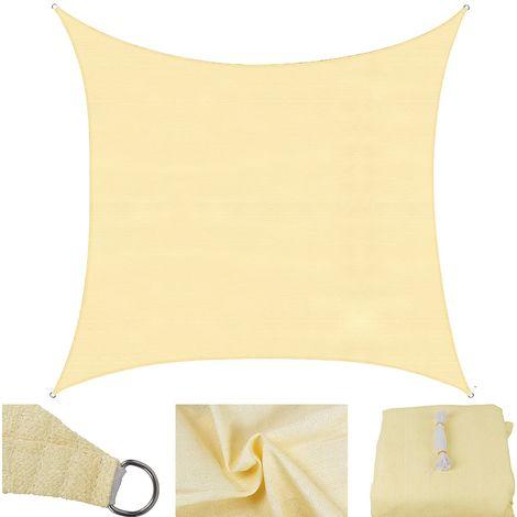 Sonnenschutzsegel Creme/Weiß - Rechteck - 2x4 m Windschutz Schattensegel