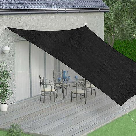 Sonnenschutzsegel Sonnensegel Sonnendach Anthrazit/Schwarz Rechteck 2x4 m