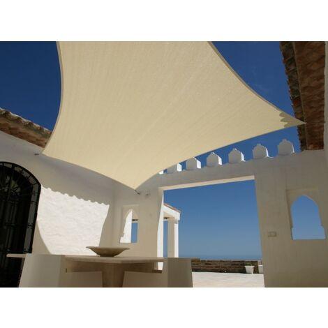 Sonnensegel 5m x 5m Quadratisch Sandfarben Sonnenschutz Windschutz Sonnendach