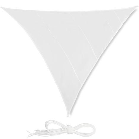 Sonnensegel Dreieck XL, wasserabweisend, UV-beständig, mit Spannseilen, Terrasse, Balkon, Garten, 6x6x6m, weiß