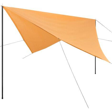Sonnensegel mit Gestell HDPE Quadratisch 4 x 4 m Beige