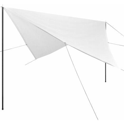 Sonnensegel mit Gestell HDPE Quadratisch 4 x 4 m Weiß