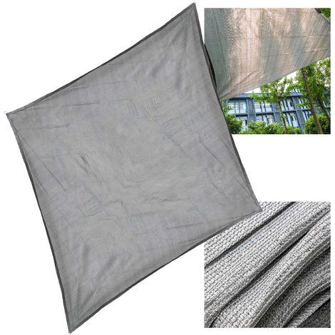 Sonnensegel Sonnen UV Schutz Atmungsaktiv HDPE Grau 5x5m Quadrat Segel Balkon