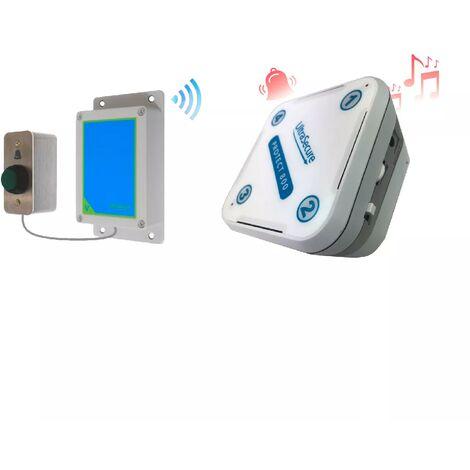 Sonnette IP65 haute-résistance sans-fil 800 mètres longue distance - bouton autonome & récepteur intérieur (PROTECT 800)