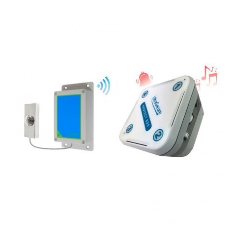 Sonnette IP65 sans-fil 800 mètres longue distance - bouton métal brillant autonome & récepteur intérieur (PROTECT 800)
