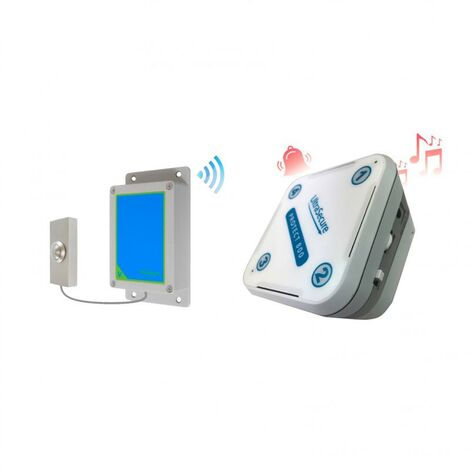 Sonnette IP65 sans-fil 800 mètres longue distance - bouton métal brossé autonome & récepteur intérieur (PROTECT 800)
