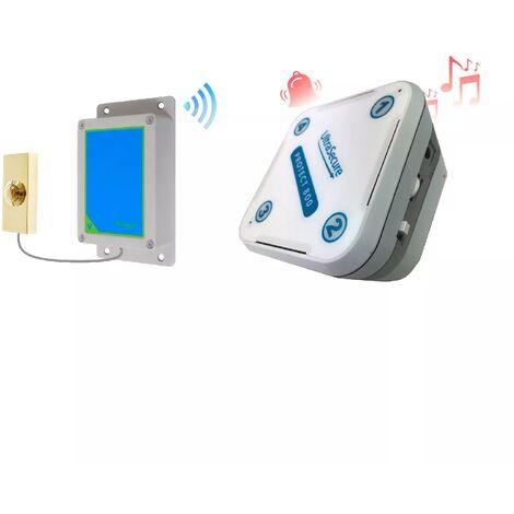 Sonnette IP65 sans-fil 800 mètres longue distance - bouton métal doré autonome & récepteur intérieur (PROTECT 800)