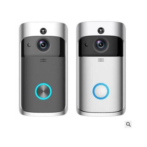 Sonnette vidéo sans fil Wifi 1080P Détection PIR Smart Home Surveillance Camera Door Phone Interphone Doorbell with Camera Silver Doorbell + European Regulation Ding Dong