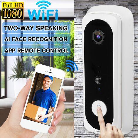 Sonnette vidéo sans fil 1080P HD interphone bidirectionnel WiFi AI reconnaissance de visage Vision nocturne sonnette Audio grand Angle
