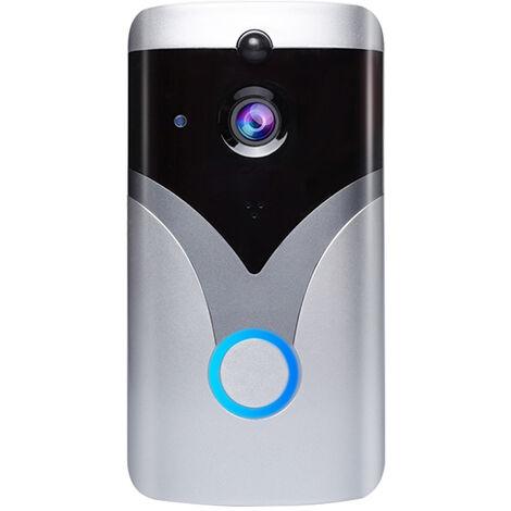 Sonnette video WIFI argentee M20, sonnette d'interphone sans fil a faible consommation et sans coup de poing, capteur infrarouge PIR corps humain, vision nocturne, etanche, standard, livresans batterie