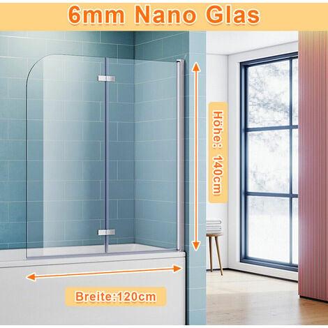 SONNI Badewannenaufsatz Dusche Badewannenfaltwand Glas Duschwand für badewanne 2-teilig 140x120(HxB),mit 6mm NANO ESG Glas