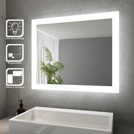 """main image of """"SONNI Badspiegel LED Beleuchtung Badezimmerspiegel mit LED Beleuchtung Wandspiegel Lichtspiegel 60x50cm,Energiesparender,IP44"""""""