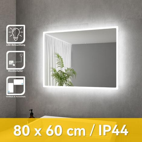 """main image of """"SONNI Badspiegel Lichtspiegel Kupfer/bleifreie Spiegel Wandspiegel 80 x 60cm kaltweiß IP44 energiesparend"""""""