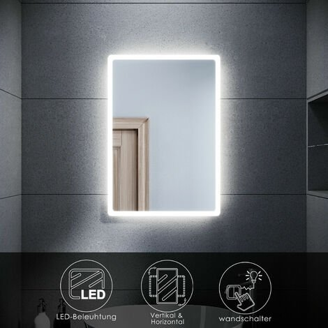 """main image of """"SONNI Badspiegel mit LED Beleuchtung 40x60cm Badezimmerspiegel Wandspiegel energiesparender IP44"""""""