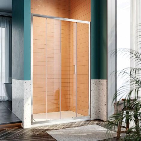 SONNI Duschkabine Duschtüren 110x185cm Duschschiebetür Dusche Nischentür Einzelschiebetür Glasschiebetür ESG Glastür